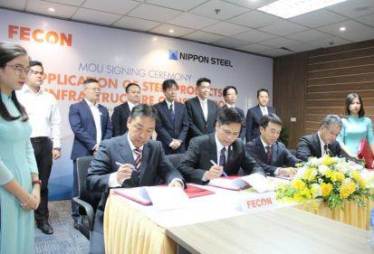 FECON ký kết hợp tác với Nippon Steel và Công ty TNHH ống thép hàn xoắn Nippon Steel Việt Nam (NPV) về ứng dụng công nghệ thép Nhật Bản vào các công trình hạ tầng